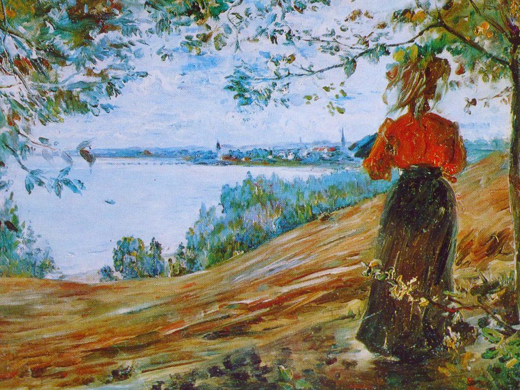 Eine Frau, die nur teilweise und in der Rückenansicht zu sehen ist, steht auf einer Anhöhe über dem Bodensee und blickt auf Konstanz. Die Ansicht ist nicht modern, sondern Neunzehntes Jahrhundert.