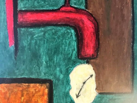 Aus einem gemalten roten Wasserhahn tropft eine oval verformte, weiße Uhr. Der Hintergrund besteht aus grünen, gelben und braunen Flächen.