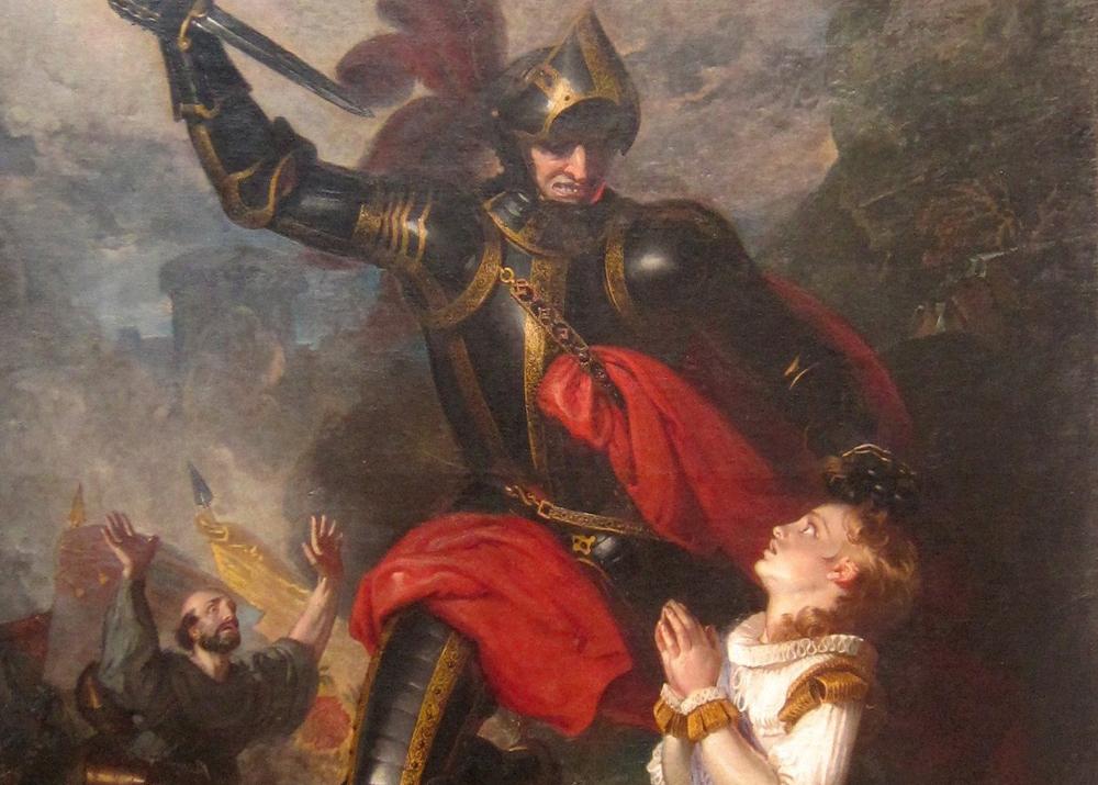 Das Gemälde aus dem neunzehnten Jahrhundert zeigt einen Ritter in glänzender Rüstung, der hoch zu Ross ein kniendes Mädchen im weißen Kleid mit einer Stichwaffe, Schwert oder Lanze bedroht. Sie hält ihm bittend die Hände entgegen, am Bildrand ist noch ein verzweifelt gereckter Arm einer anderen Person zu erkennen.