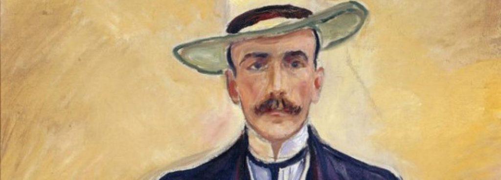 Edvard Munchs Porträt von Harry Graf Kessler zeigt vor hellgelbem Hintergrund einen schlanken, eleganten Mann mit schmalem Gesicht, Schnurrbart und blauen Augen. Er trägt einen dunkelblauen Anzug mit Weste, ein weißes Hemd mit dunkelblauer Krawatte und einen hellen Sommerhut. Er strahlt Intelligenz und Melancholie aus.