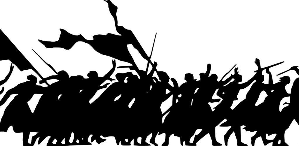 Ein Scherenschnitt zeigt tiefschwarz auf weiß eine Gruppe aufgebrachter Frauen, die Fahnen schwenken und ihre Fäuste in die Luft recken.