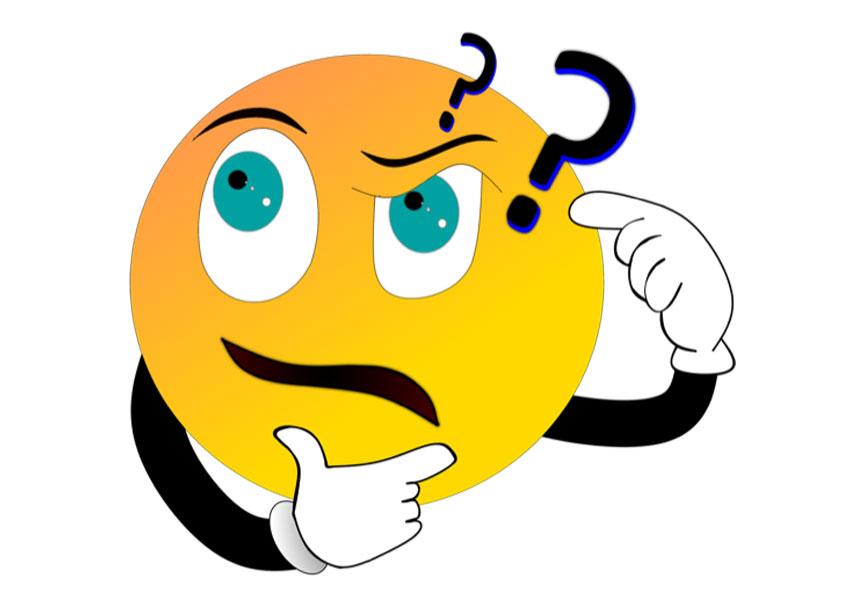 Ein gelbes rundes Emoji-Gesicht zeigt einen verblüfften Gesichtsausdruck, fasst sich mit einer Hand ans Kinn und tippt sich mit der anderen an die Stirn, von der zwei Fragezeichen aufsteigen.