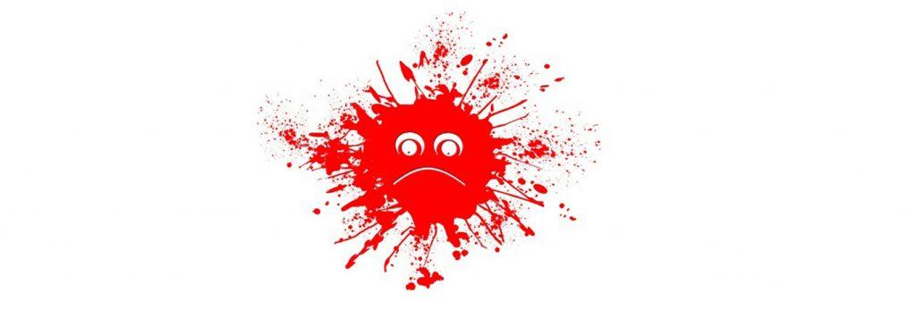 Ein zerspritzender ,runder, roter Tintenklecks ist mit einem missmutigen Gesichtsausdruck versehen, der Mund ist eine nach unten gebogene Linie, die Augen zwei weit aufgerissene Kugeln mit punktförmigen Pupillen – es erinnert an Darstellungen des Corona-Virus.