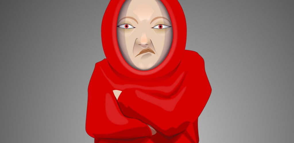 Ein stilisiert gezeichneter Mann in einer roten Mönchskutte zieht ein sehr missmutiges Gesicht und verschränkt in einer abwehrenden oder trotzigen Haltung die Arme vor der Brust.
